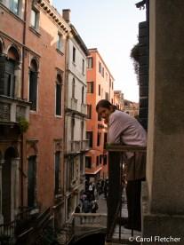 Carol on the Venice balcony