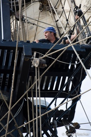 Bryan up in the rigging again