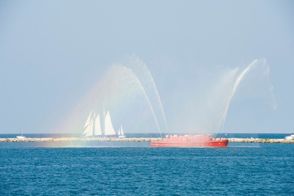 Chicago Fire Department's water cannon salute