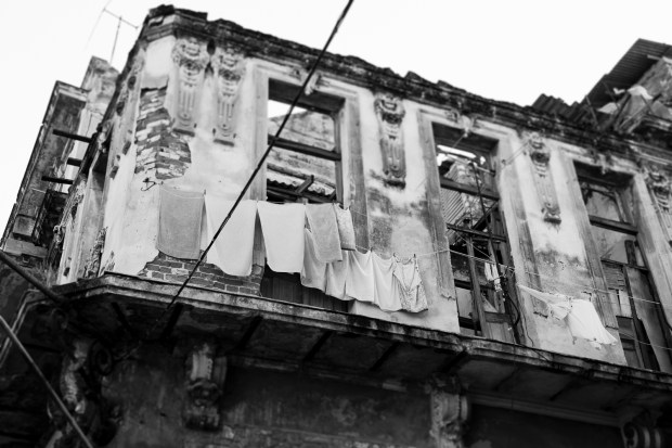 Laundry hung on a roofless building - Havana
