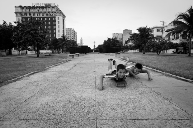 Skateboarding on Avenue G - Havana Cuba