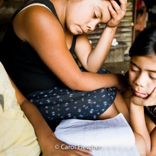 Guatemala girls study school books duenas