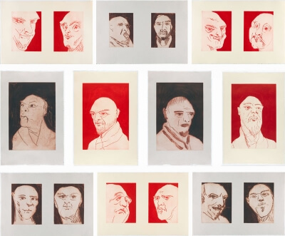 Thomas Schutte, Alte Freunde, 2010-11, Suite of ten line etchings with open bite and carborundum, On J. Whatman 235 gsm. and Barcham Green 115 gsm. papers, Each 31 x 20 ½ inches, Edition of 35