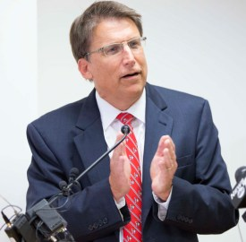Gov. Pat McCrory speaks at the press conference in September 2014 held at the Asheville Regional Airport, about his 25-year transportation plan. Alicia Funderburk/Carolina Public Press