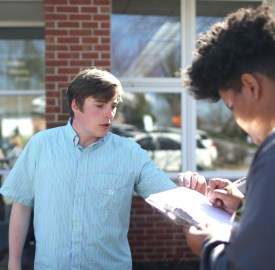 15.Williams Parker stands outside of the West Asheville Public Library on Tuesday, March 15, 2016, recruiting prospective voters to sign a petition asking to allow Green Party candidates to be let on future ballots in North Carolina. Colby Rabon / Carolina Public Press
