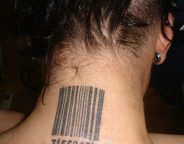 A woman's neck bears a bar code tattoo, a possible sign that she's been trafficked. Used by permission of the N.C. Department of Public Safety