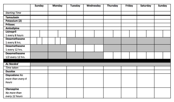 Medication Tracking Sheet