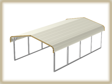 Steel Buildings Carport two tone top tan on brown trim. standard style.