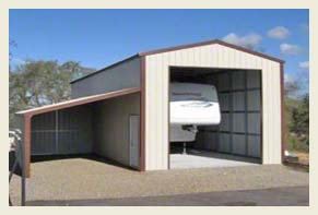 Steel Buildings RV Port with Side Port