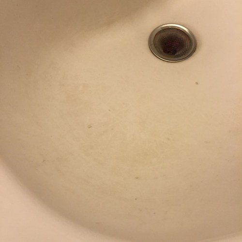 The dirty sink in my bathroom.
