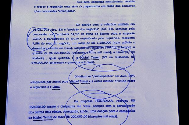 Michel Temer recebia 50% da propina no Porto de Santos, indica processo