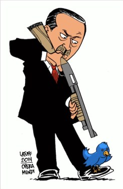 Latuff cartoon of President aiming rifle at a Twitter bird perched on his foot