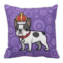 Black pied french bulldog king throw pillow