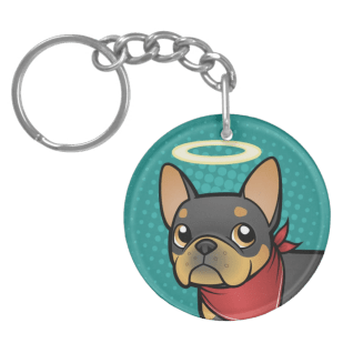 Cartoon black and tan french bulldog keychain