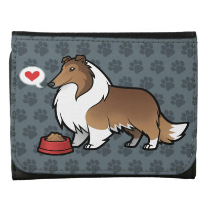 Cute rough collie wallet