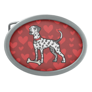Heavy Spotted Dalmatian on Red hearts background belt buckle