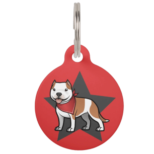 Cute cartoon pitbull pet tag