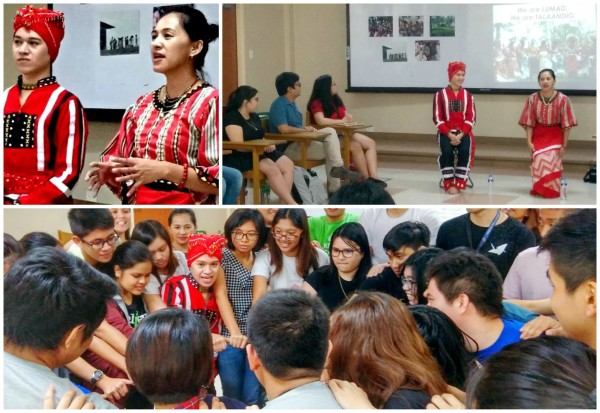 Bricks Sintaon (Education Coordinator) and Berose Tacal (Administrative Officer), team members of Cartwheel and indigenous Talaandig, engage college students with stories about their unique life ways as IPs in Ateneo de Manila University's Talakayang Alay sa Bayan