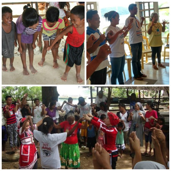 Psychosocial integration through THRiVE builds on a safe space for the children, encourages self-care among teachers and community members, and strengthens the home-school connection Top photo, L: Psychosocial integration workshop (September 2015) Top photo, L: Teachers' training session (July 2016) Bottom photo: Tagbanua Indigenous Peoples Summit (October 2016)