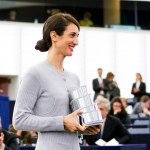 LUX Prize 2015 award ceremony. Announcement of winning film and presentation of Prize to the winning director by EP President during plenary session week 48 2015 in Strasbourg