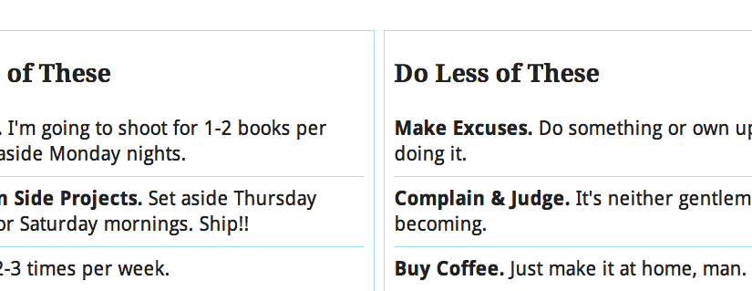 2015: Resolving to Do More, and Less