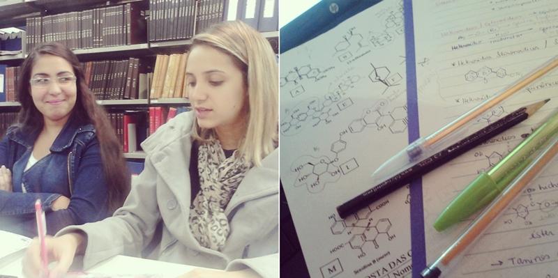 Semana de provas: minhas tardes foram passadas na biblioteca estudando com as minhas amigas. Na primeira foto estávamos estudando farmacologia. Essa tarde me rendeu um belo 10 de média! Na segunda foto estava estudando farmacognosia.