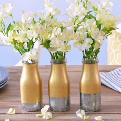 Two Toned Mercury Glass Milk Bottle Vase