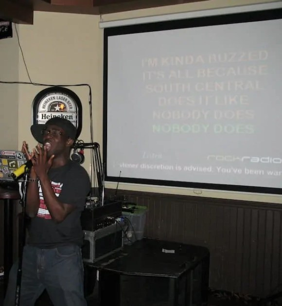A 24-year old Casey Palmer killin' one of his favourite songs at a karaoke birthday bash.