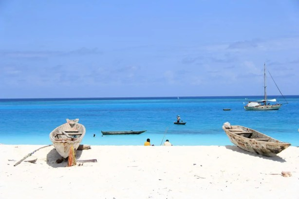 A shot of the white sands and unbelievably blue waters of Kendwa Beach