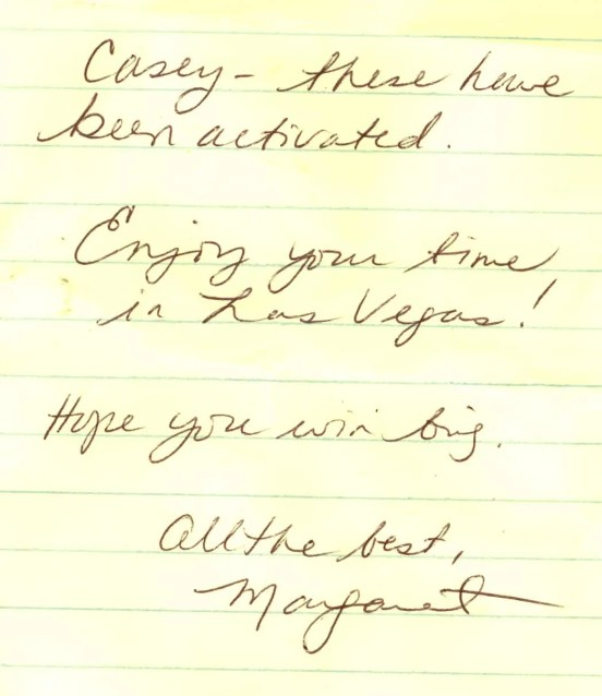 A note from Praxis PR's Margaret Bourne wishing us well on our trip to Las Vegas!