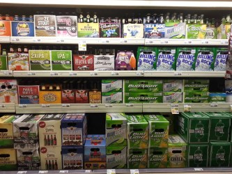 Several beers on display at a TOPS in Buffalo, NY.