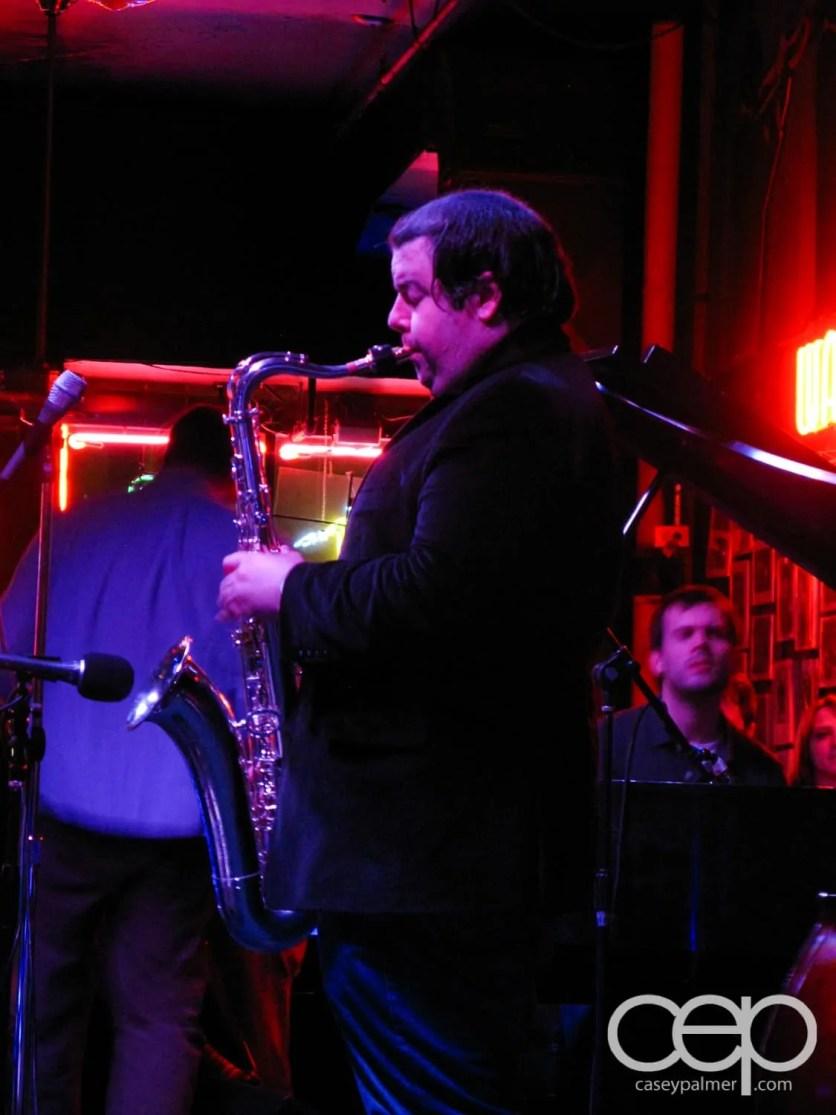 A musician at The Underground Wonder Bar in Chicago, IL