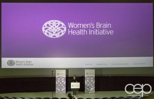 The speaking podium at the Women's Brain Health Initiative launch party.