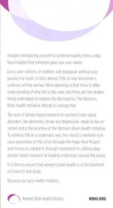 WBHI information at the Women's Brain Health Initiative Launch