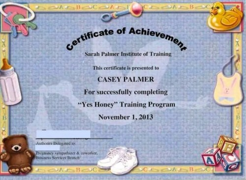 """The DoomzToo Birth Story — The Sarah Palmer Training Institute — Certificate for Completion of the """"Yes Honey"""" Training Course"""