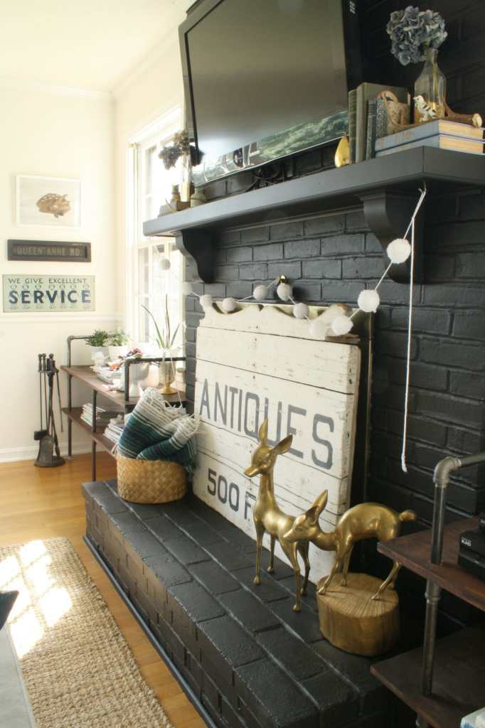 #EclecticallyFall black fireplace and mantle