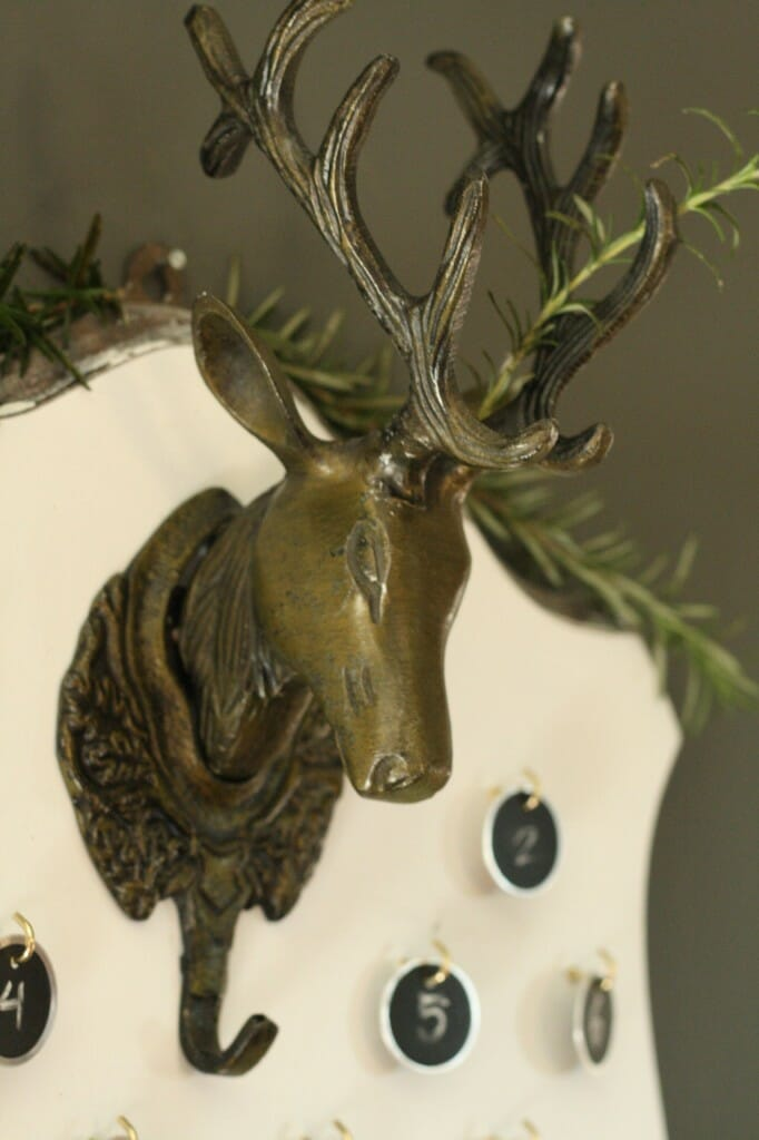 DIY deer mount advent calendar with brass deer