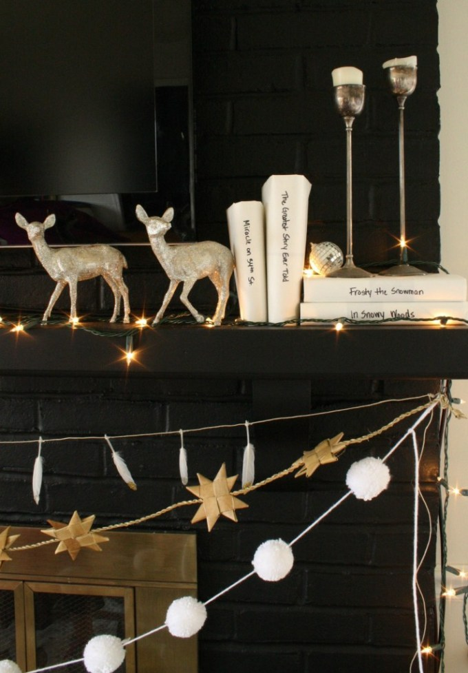 black, white, and sparkling holiday mantle