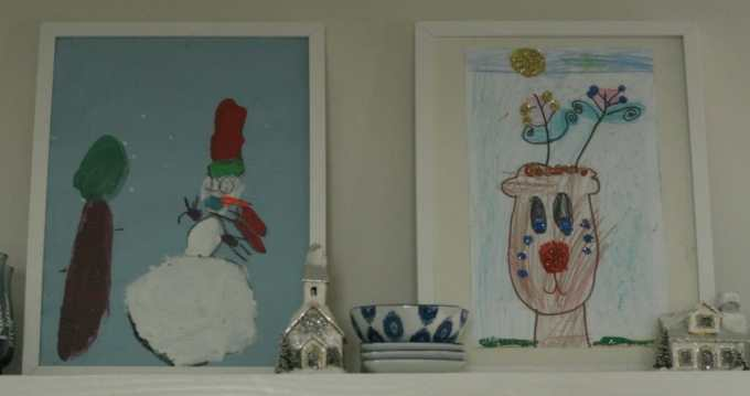 displaying kids christmas art