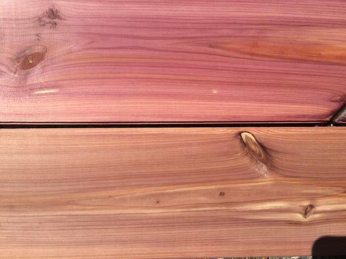 Cedar plank faded in sun vs unfaded