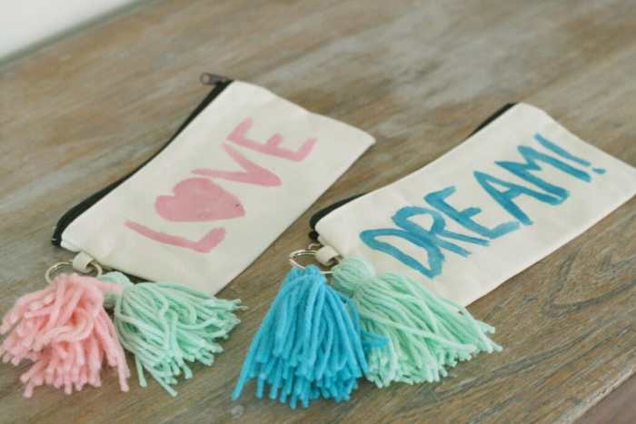 DIY tassel and painted pencil pouches