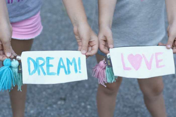 DIY painted and tassel adorned pencil pouches for back to school style