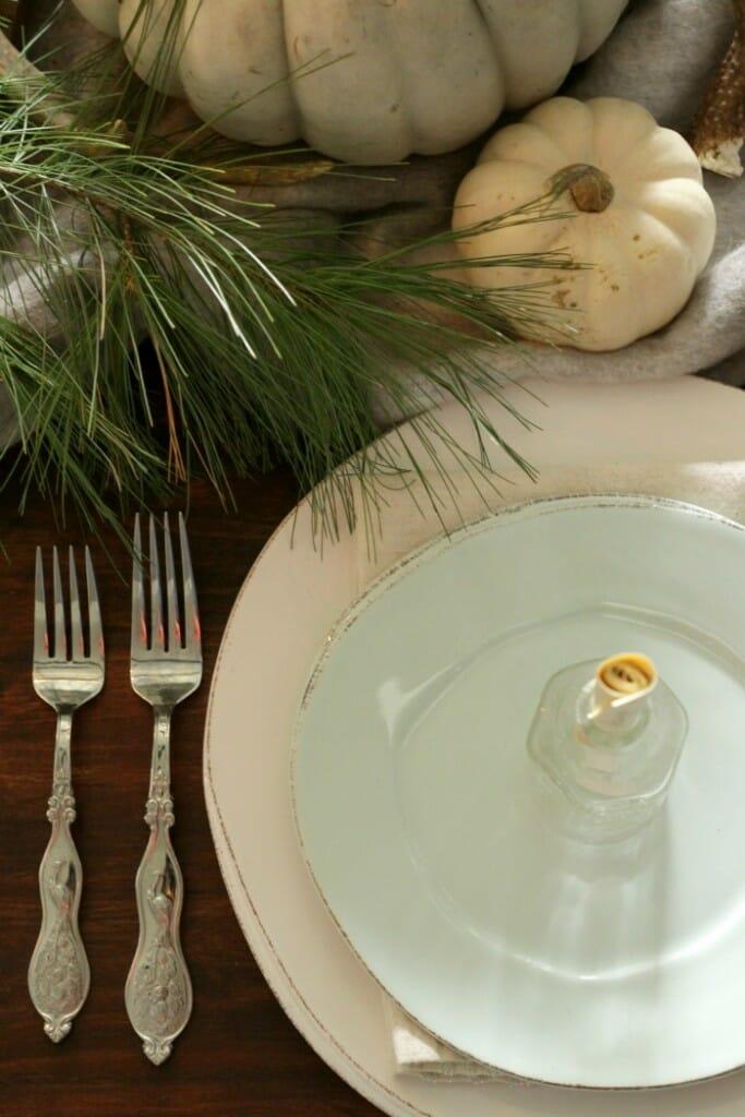 Aqua and White Vietri Dishes- Pine & Pumpkins on Thanksgiving table