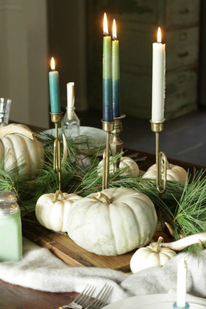 Cutting board, Candlesticks, Pumpkins & Pine as Thanksgiving Centerpiece