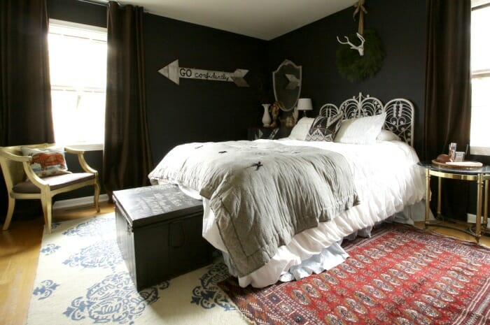 Eclectic Bohemian Black BedRoom at Christmas