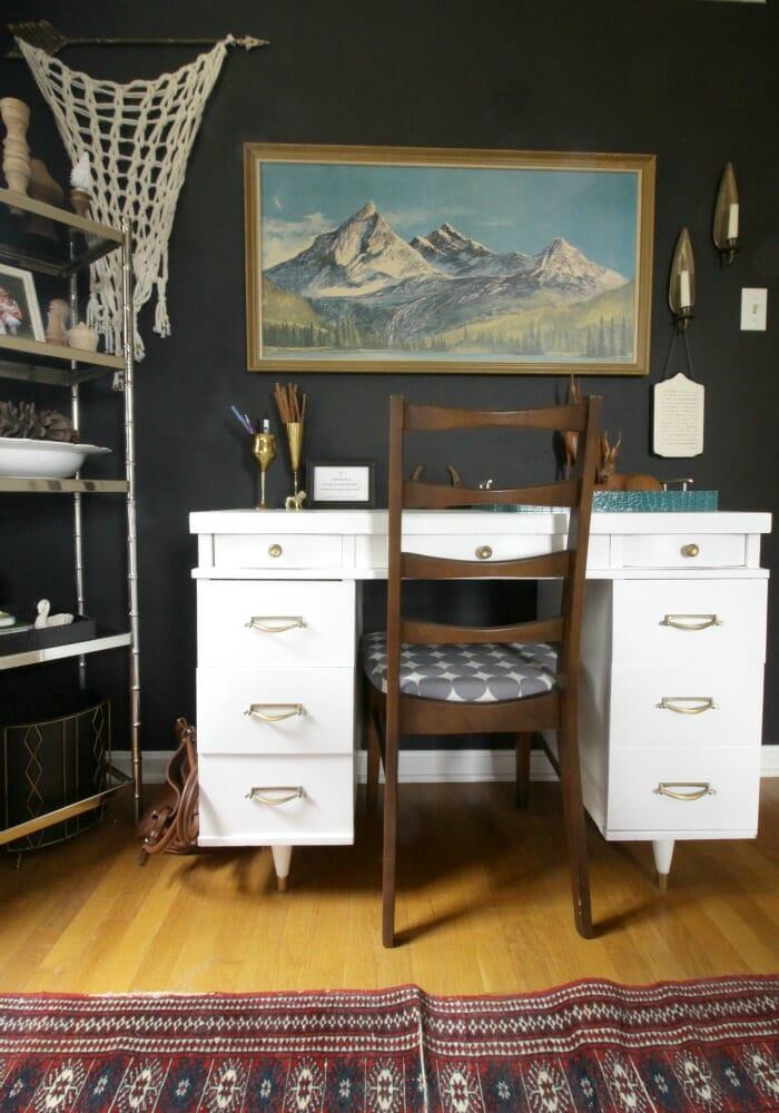 Eclectic office area in bedroom
