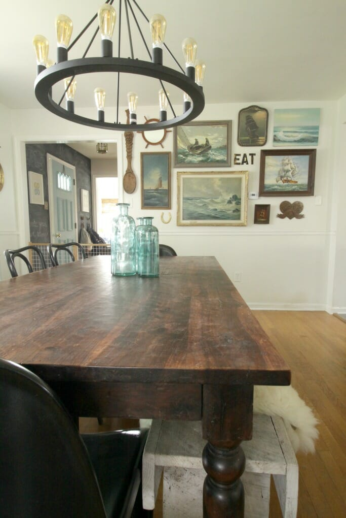 Nautical seascape wall in dining room