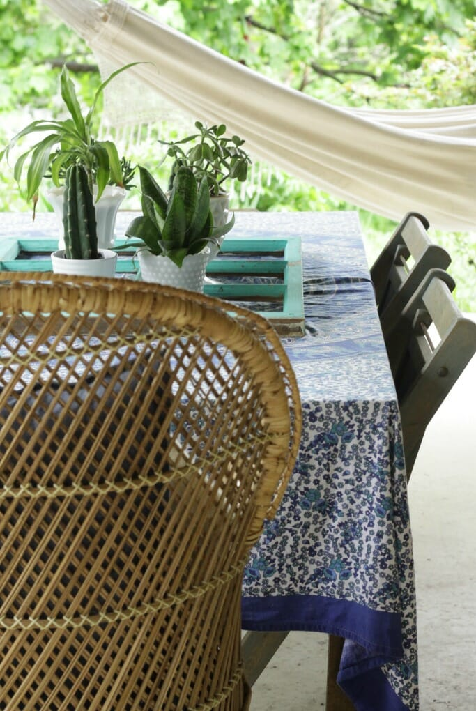 boho porch in blues and greens