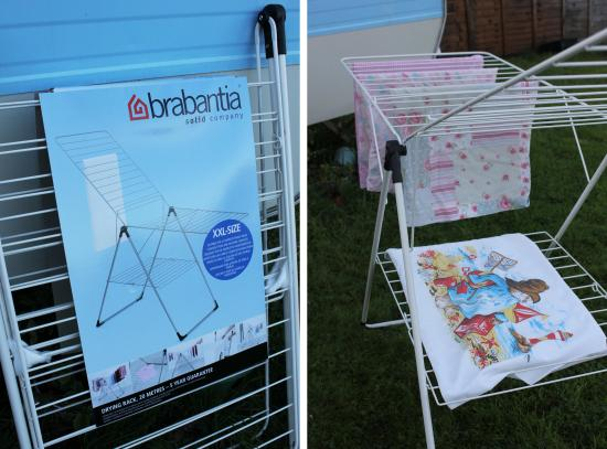 brabantia airing rack outside my vintage caravan sewing room