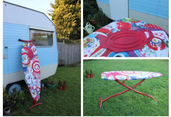 brabantia ironing board outside my vintage caravan sewing room